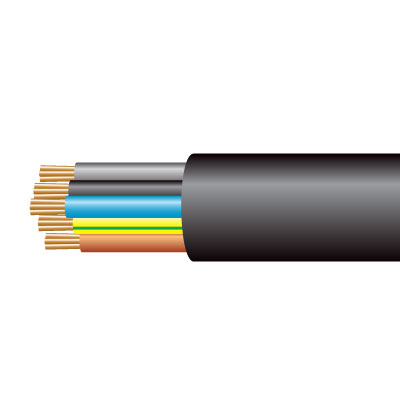 Cable 3185Y 5C Flex PVC 1mm Blk (100m)