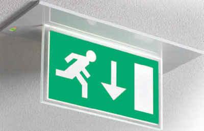 jsb bblm led exit sign 3hrm white