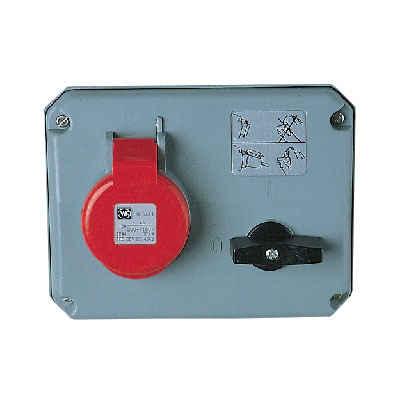 Mk K9645red Socket 3p N E Angled 32a
